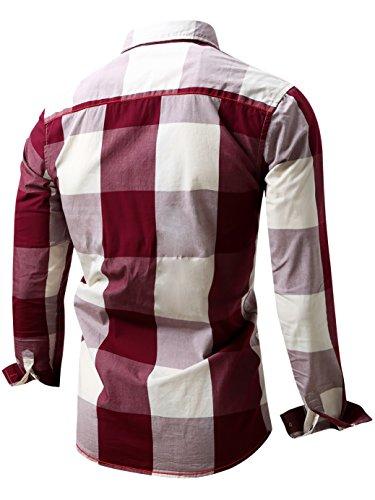 Neleus Men's Long Sleeve Button Down Plaid Shirts,112,Red,S,Tag M