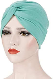 Fxhixiy Women's Cotton Twist Sleep Turban Hat Cancer Chemo Beanies Cap Wrap Pleated Headwear