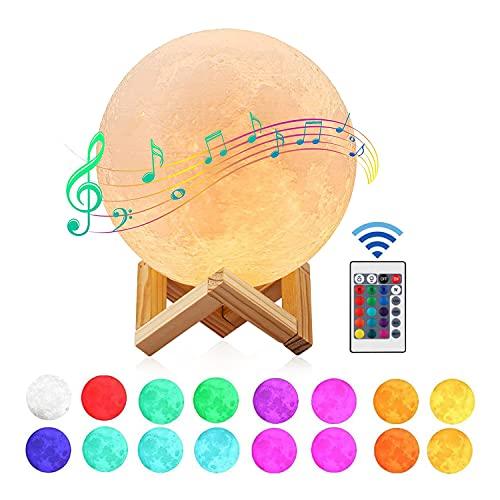 Lampara Luna con Altavoz Bluetooth, Gemmac 16 Colores Luz de Luna Lámpara 3D Táctil Lámpara de...
