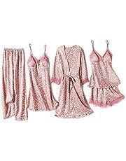 Lachi 5PC damska koszula nocna, zestaw satynowa, szlafrok poranny, kimono, koronka, krótki szlafrok kąpielowy, piżama, piżama, bielizna nocna, sukienka na ramiączkach, szorty, dessous, koronka, z kwiatami