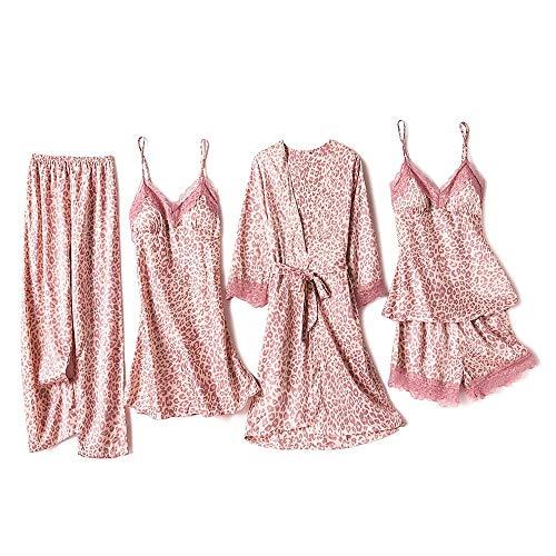 Danfiki Zestaw piżamy damska bielizna nocna dziewczęca damska bielizna nocna jedwabna satynowa piżama koronka kwiatowe koszule nocne 5 szt. szlafrok koszula nocna z wkładki na klatkę piersiową, Delikatny różowy, L