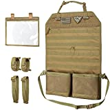 WYNEX Tactical Car Seat Back Organizer with Gun Rack, Upgrade Tactical MOLLE Seatback Cover Protector Universal Fit Vehicles Truck MPV Pickup with Transparent Pocket and Custom Patch