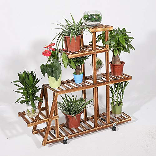 Photo of unho Wooden Tiered Plants Stand, Wooden Plant Shelf with Wheels Multi-TieredFlower Rack Holder Plant Pots Shelves Display Stand for Indoor Outdoor for Garden Patio Balcony Lawn 37.4″ x 9.84″ x 40.2″