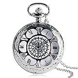 KaiKai Cadena de Bolsillo watchSilver Collar Regalo del Reloj de Bolsillo Unisex Valentine (Color : Silver)