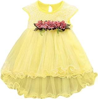 Baby Dress,Kstare Kids Girls Summer Short Sleeve Floral Party Wedding Tulle Princess Dresses (12M, Yellow)