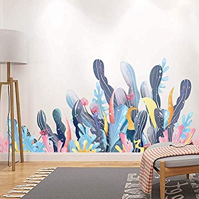 Amaonm Creative Cartoon Removable 3D Under The Sea World Nature Scenery Wall Stickers Ocean Grass Colorful Seaweed Baseboard Wall Decal for Wall Corner Nursery Room Bathroom Living Room