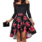 Women's Off Shoulder Short Sleeve High Low Cocktail Skater Dress Swing Dress (L, Red Rose)