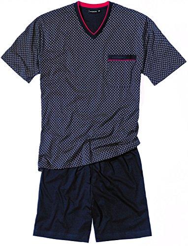 Götzburg Pyjama V-Ausschnitt kurz Schlafanzug Übergrössen Farbwahl, Grösse:M - 5-50;Farbe:Marine