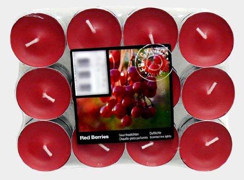 Teelichter Duftkerze Kerze Duftteelicht mit Duft Farbig Teelicht 24 Duftteelich (Rot Beeren Düft)