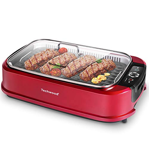Techwood Indoor Grill Electric Grill, 1500W Indoor Korean BBQ Smokeless Grill with Tempered Glass Lid, Drip Tray & Portable Non-Stick Barbecue Grill with Turbo Smoke Extractor Technology, Red