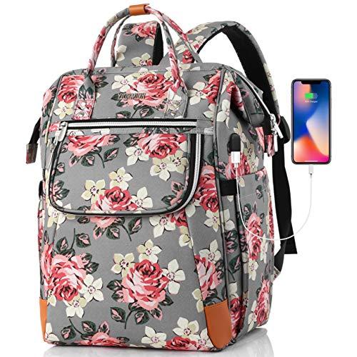 Rucksack Damen für Schule Uni Reisen Freizeit Job mit Laptopfach & Anti Diebstahl Tasche mit USB Ladeanschluss (F12-Flower)