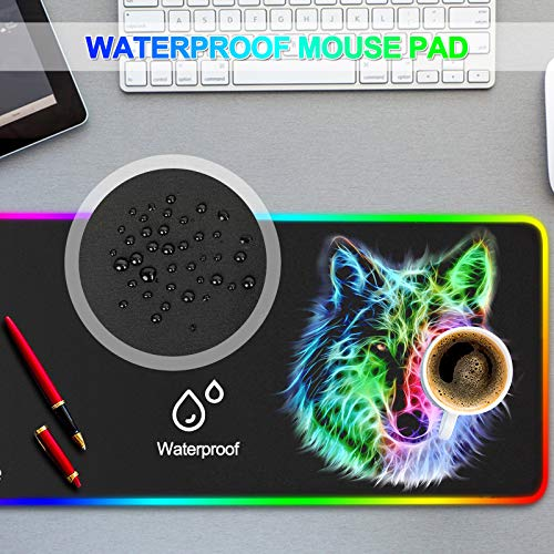 RGB Mouse Pad,Gaming Mouse Pad RGB,Cool Animal LED Mousepad-14 Light Modes Soft Non-Slip Base Large LED Mouse Mat for Laptop Computer PC Games 31.5 X 12 inches (RGB Wolf Mouse Pad) Photo #5