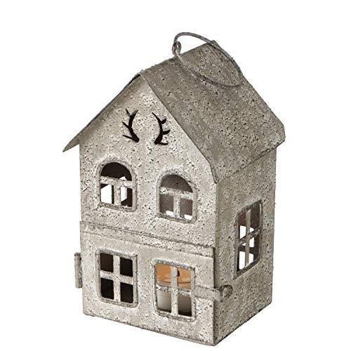 Boltze Laterne Antler Häuser Eisen lackiert Höhe 13-35 cm Dekoration Kerzenschein, Größe:klein