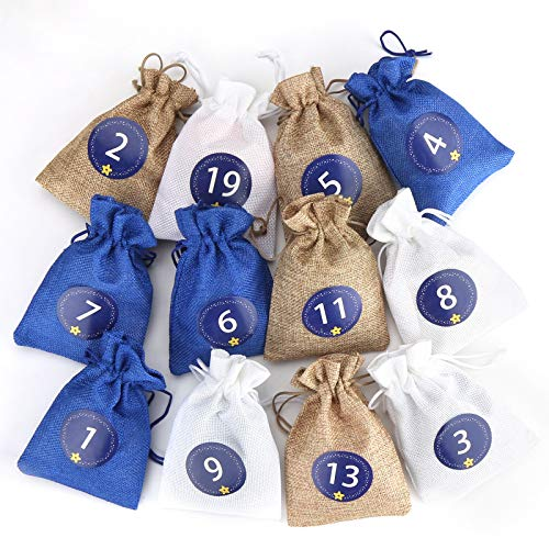 Aitsite Adventskalender zum Befüllen, 24 Adventskalender Säckchen, 2020 Weihnachten Geschenksäckchen Deko, Weihnachtskalender Selbstbefüllen Aufhängen, Adventskalender Stoff