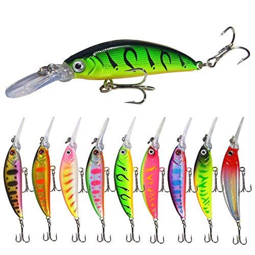 10 señuelos de pesca Minnow Kit de cebos realistas Crankbait Swimbait accesorios de aparejos de pesca lápiz para lubina, trucha lucio, lucio, leña, peces rojos, agua dulce con fuertes ganchos agudos