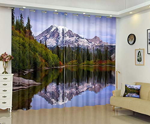 Mountain Curtain Blackout Curtains for Bedroom Country Blackour 2 Panels Set Backdrop Lush Decor Insulated Window Bench Lake Mt Rainier Beautiful Calm Reflections Autumn Rai 108 X 84 Inch Length