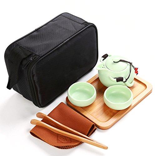 OUNONA Juego de té Kung Fu de Porcelana Chino Juego de té portátil de Viaje Gong Fu con una Tetera (2 Tazas de té + Bandeja de té + paño de té + Bolsa de té + Bolsa de Viaje) (Verde)