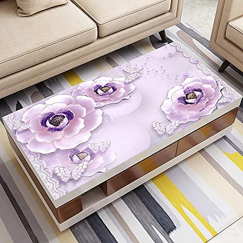 Accesorios para sala de estar Cubierta de mesa de pvc con flores en 3D, mantel para decoración de mesa auxiliar, impermeable, resistente al calor, para escritorio, fácil de limpiar, a 90x160cm (35x