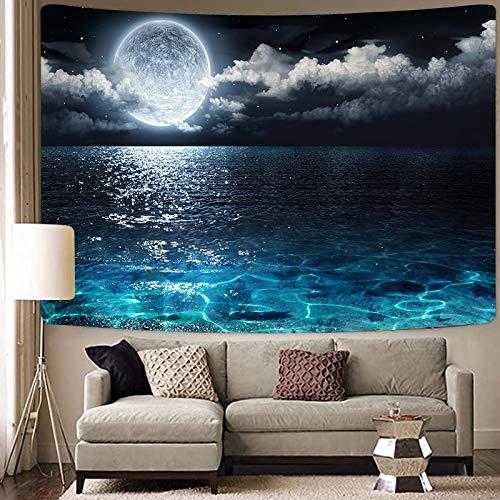 KHKJ Tapiz de la Gran Ola Paisaje del mar Azul Tapices para Colgar en la Pared Fondo de Tela psicodélico Decoración para el hogar Manta A6 95x73cm