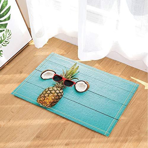 Gafas de sol de piña y coco para interior antideslizante, alfombrilla de baño, lavable 45 x 75 cm, decoración del hogar