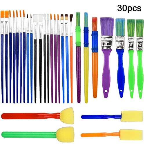 NATUCE 30PCS Pinceles para Pintar, Herramientas de Dibujo para Niños, Pinceles de Pintura para Niños, Niños Esponja Pintura Cepillos Kit, Cepillos de Pintura de Esponja para Arte Artesanía DIY