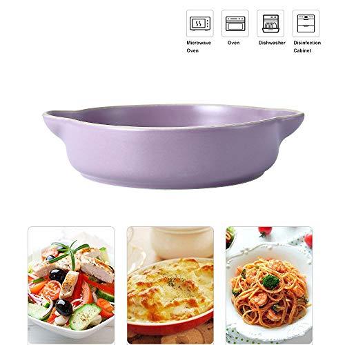 Ronde Solid Risotto Bowl, Stereofonisch Keramische Bakplaat, Fruit Salade Plate, Ideaal voor Tapas, Tarts, Quiche, Taarten en Meer Paars