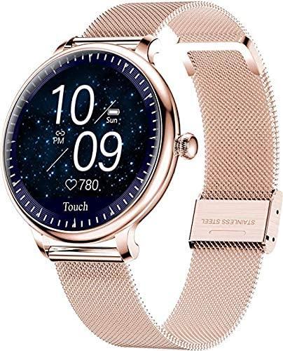 XYG Reloj inteligente para mujer, oro rosa, diseño elegante, pulsera de fitness, presión arterial, ritmo cardíaco, monitoreo del sueño, podómetro, reloj deportivo para Android iOS