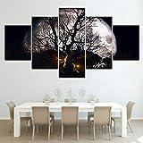 SFBBBO 5 Pinturas de Lienzo El árbol y la Luna 5 Piezas de Papel Tapiz Moderno Cartel Modular Arte Lienzo Pintura para Sala de Estar decoración del hogar