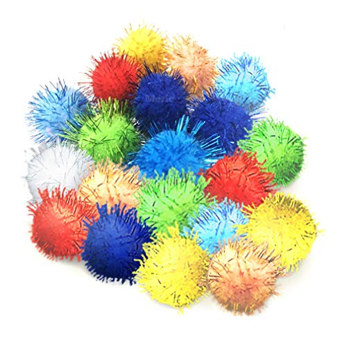 Meric Cat Toy Sparkle Ball Jumbo Pack, Unleash Your Cat's Inner Lion, No More Flabby Tummy, Get Your Kitty Fit Again with These Sparkly Balls, Ideal for Multi-Cat Homes, Bond Over Play, 20-Pieces
