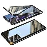 Funda Compatible Samsung Galaxy S20 FE, Carcasa Anti-Choques y Anti- Arañazos, Adsorción Magnética conchoques de Metal con 360 Grados Protección Case Cover Transparente Vidrio Templado Cubierta,Negro