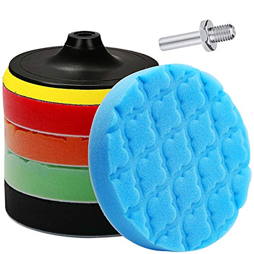Lasdoloda Buffing Pads & Polishing Pad, Orbital Polishing Pads 150mm / 6 Inch Hook and Loop Car Polishing Kit Buffing Wheel for Drill, Body Repair Buffing & Polishing Pads Buffer Pads with M14