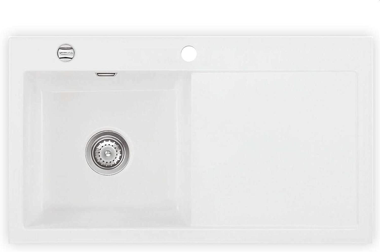 Systemceram Mera 90 Polar Keramik-Spüle Excenterbettigung Wei matt Spülbecken