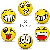 deloono Anti-Stressball Emoji mit lustigen Gesichtern - 6 STK Stressbälle Knautsch Knet Smiley...