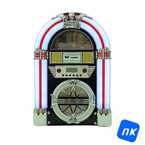 NK Mini Jukebox con Am/FM/USB/SD/BT/Lector CD - Luces LED, Música, Altavoz,...