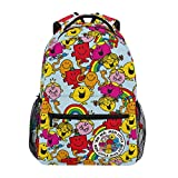 Mr Men & Little Miss Backpack for Girls, Large Capacity Schoolbag, Cartoon Mini Travel Bag