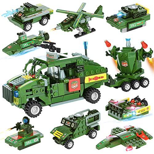 City Military Truck Car Set Building Set, 8 + 1 Cool Military Building Toys Includes Truck Tank Helicopter Creative Gift for Boys Girls Aged 6+, 884 Piece (City Military)
