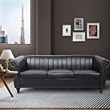 Sofa Set for Living Room 3 Sofa Couch Seater Faux Leather Fabric Home Theater Seating Reclining Couch Sofa for Home Furniture (Black)