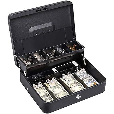 30 x 24 x 8 cm XL KYODOLED Geldkassette mit Schloss Geldkassette mit Geldfach Schloss mit Schl/üssel Geldspar-Organizer Schwarz