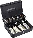 NEX - Caja de caudales de doble capa y 2 llaves, con compartimentos para monedas y dinero en efectivo, color negro