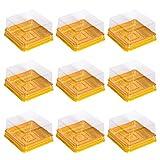 PPuujia Caja de 50 cajas de pastel de luna, cuadradas, para hornear, yema de huevo, hojaldre y pasteles, cajas doradas, tamaño del contenedor (color: M)