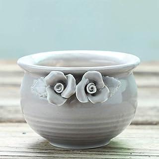CJH Creative Fashion Succulents Retro Ceramic Pots Hand-painted Flowers (Color : Gray)
