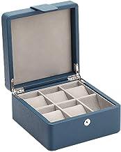 GPWDSN Layer Jewelry Box voor vrouwen Grid ketting of sieraden houder Organizer met slot (blauw)