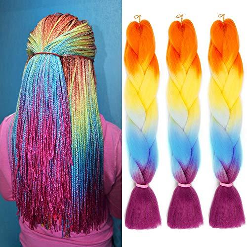 3Pcs/Lot Ombre Braiding Hair 24 Inch Jumbo Braiding Hair Synthetic Twist Four Color Braids Hair Extensions(Orange/Yellow/Blue/Purple)
