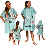 HOMELEVEL Kinder Baby Poncho Badeponcho Handtuch Cape Baumwollmischung Velours Frottee Badetuch mit Kapuze (4-7 Jahre, Hawaii Mint)