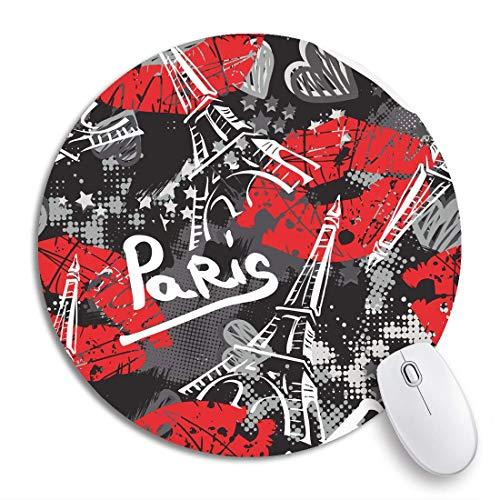 HENTIN 7.9 * 7.9 Inch ronde muismat Bonjour Paris Originele kalligrafische lettertypen Schets Eiffeltoren Antislip rubberen basis Muismat Gaming Mousepad