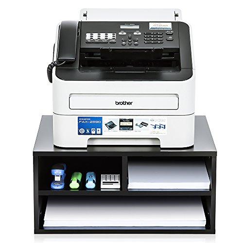 FITUEYES Druckerhalter Holz Schwarz mit 3 Fächern Schreibtisch Organizer für Büro und Zuhause 47x40x22.5cm DO204701WB