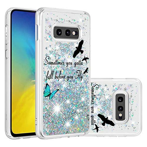 Miagon Flüssig Hülle für Samsung Galaxy S10e,Glitzer Treibsand Handyhülle Glitter Quicksand Schutzhülle Bumper Case Cover,Vogel