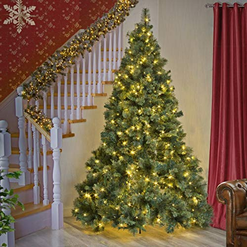 SHATCHI 4Ft-8Ft Pre-Lit Kentucky Pine Luxurious Artificial Green Christmas Tree Bushy Xmas Holiday Home Decoration With Long life Energy Saving Warm White LED Lights Last Up To 50,000 hrs, 8Ft