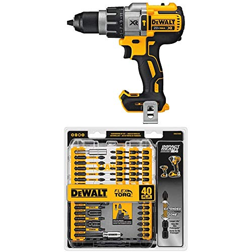DEWALT DCD996B Bare Tool 20V MAX XR Lithium Ion Brushless 3-Speed Hammer Drill (Tool Only) with DEWALT DWA2T40IR IMPACT...