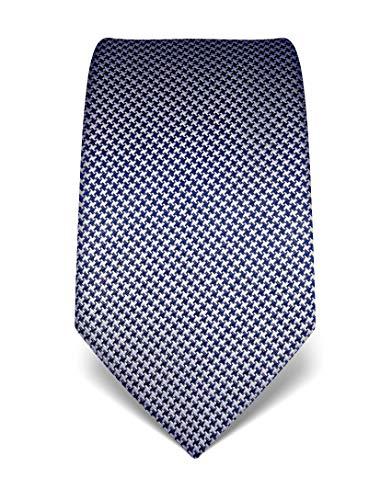 Vincenzo Boretti Herren Krawatte reine Seide Hahnentritt Muster edel Männer-Design zum Hemd mit Anzug für Business Hochzeit 8 cm schmal/breit dunkelblau